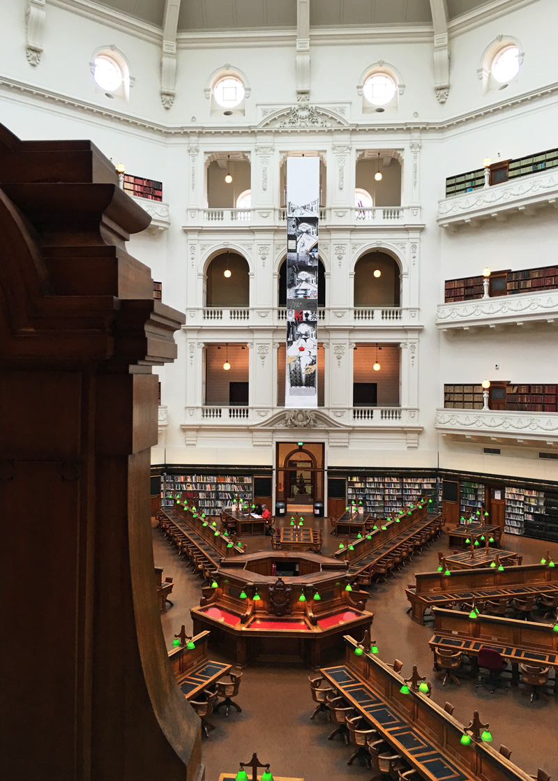 "'Peace or War: The Big Picture"" Installation View - State Library of Victoria 2016"