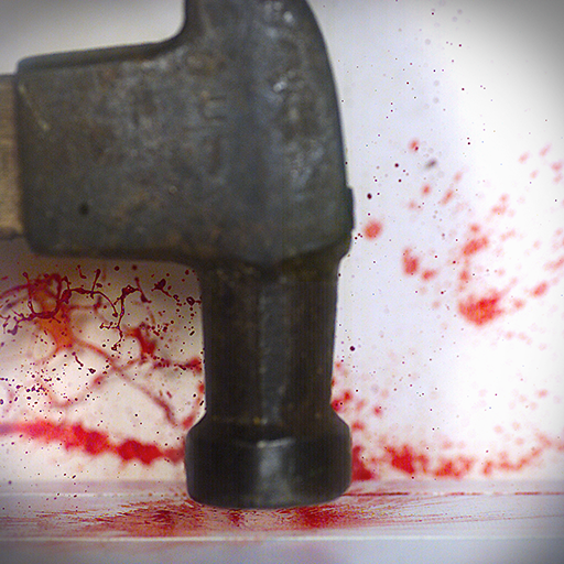 When a violent crime happens, forensic scientists need to deduce the causal criminal event from the evidence. To stand the test in a court of law, the inverse calculation requires rigorous experimentation and simulation. This image of a hammer impacting a bloody surface is part of a high speed video, filmed at 4000 frames-per-second. The dynamic movement and behaviour of the blood observed from the video will allow forensic scientists to understand the resulting blood spatter pattern better, and help bring the identity of the criminal into light.