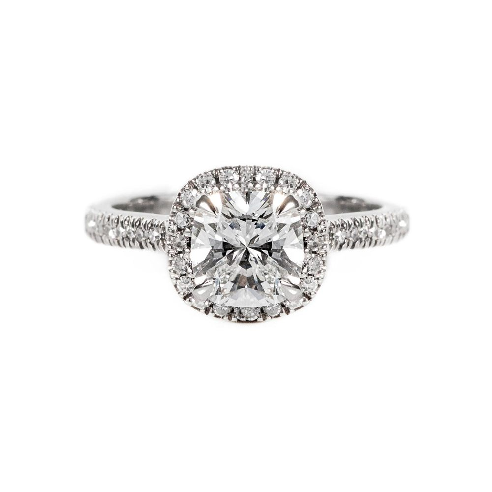 Cushion cut halo, diamond and platinum ring (VS2, F, 1.7ct)