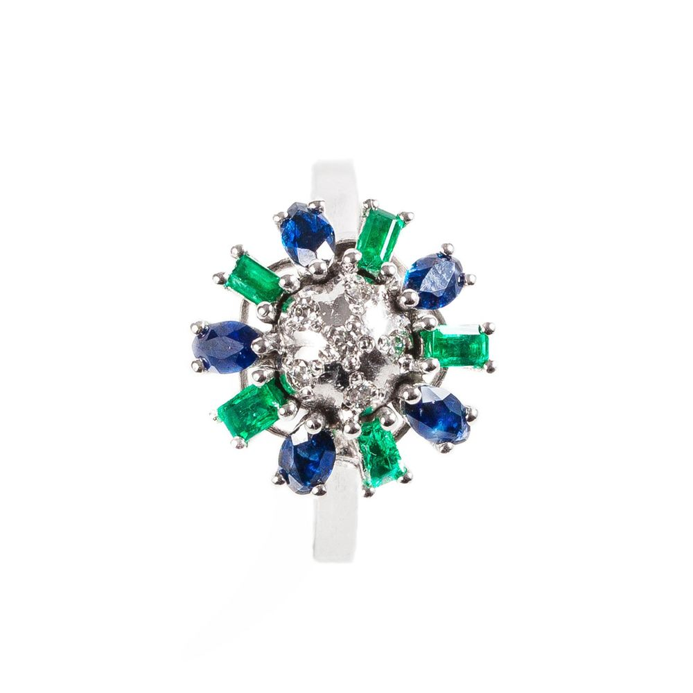 Emerald, sapphire and diamond cocktail ring