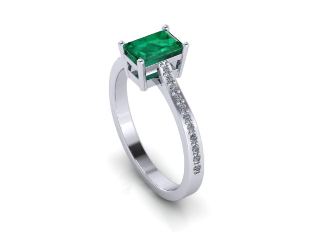 Bespoke Emerald Ring design London Custom Jewellery Hertfordshire diamond platinum gold engagement