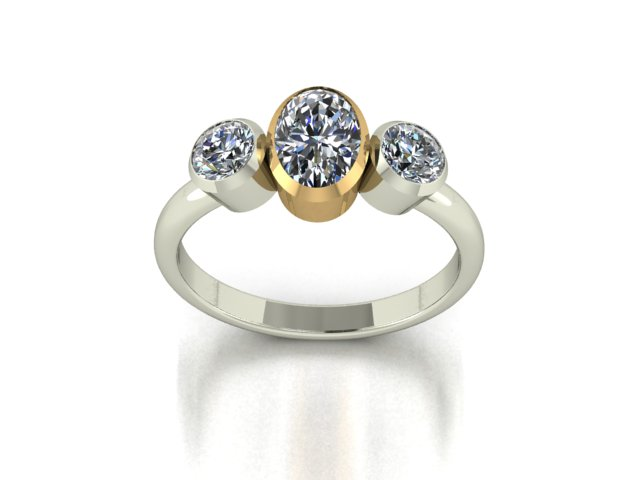 Diamond and yellow gold platinum bespoke engagement ring hertfordshire Hitchin London Oval cut GIA Vs custom engagement ring