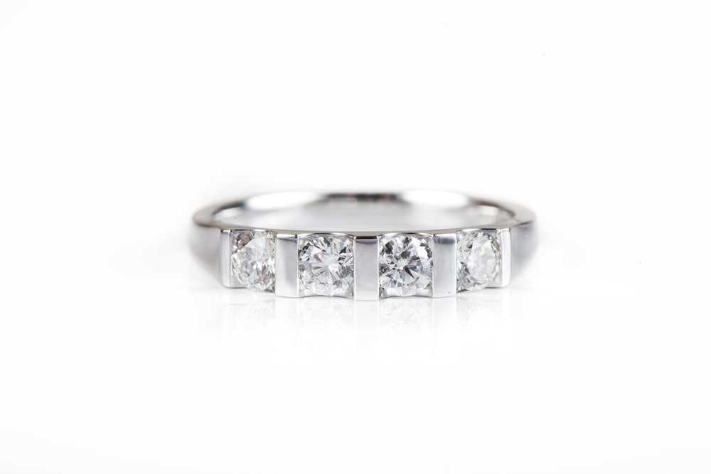 Platinum and Diamond half eternity ring by James Veale Jewellery Hitchin