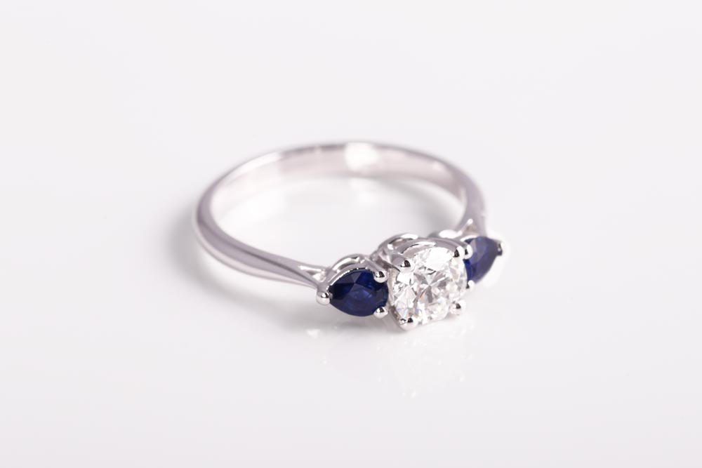 Platinum, Diamond and Sapphire ring - Made By James Veale Jewellery Hertfordshire