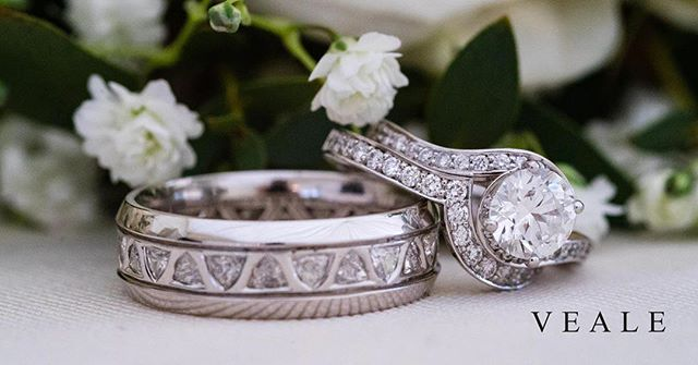 Wedding jewellery was hugely important to our big day. Here are our wedding bands and Rosie's engagment ring. Mine is a full eternity ring set with trillion cut diamonds and Rosie's is crafted to follow the outer shape of her engagment ring set with round brilliant cut diamond in a pavé setting.