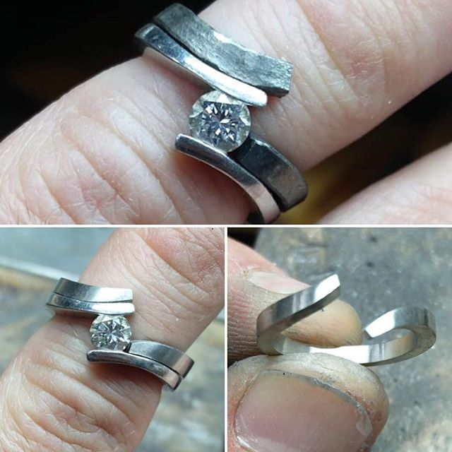 The making of a made shaped to fit wedding band. My client chose to engrave the grid coordinates of there wedding on the rings which I thought was a lovely idea. #makeityourown