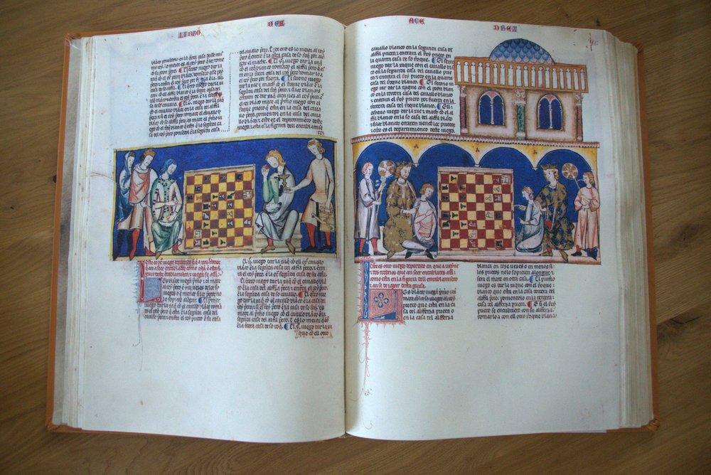 """Alfons X, der Weise """"Del Libros del los Juegos"""" (Das Buch der Spiele) Faksimile von 2012, Original von 1283, Sevillia, in real Sitio de san Lorenzo de el escorial"""