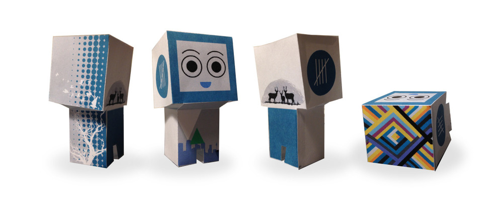 Paper Critter, v2.0    Unfortunately, I don't remember exactly what my first Paper Critter looked like, but I was excited to take a stab at it, many years after the first attempt.  I took the second opportunity to add in some of my design work, and some of my personal branding to this edition of my paper critter.   I wanted the paper critter to be a mix of myself and my inspiration: color, simplicity, nature, my deer screen print, and geometric shapes.