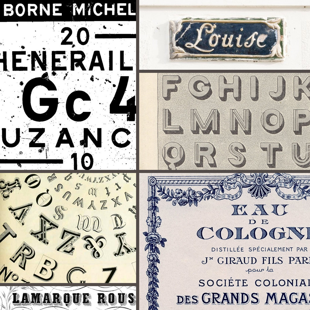 Inspiration: Vintage French Typography    I'm working on a friend's Save the Date (and eventually wedding invitations) and have been researching vintage French typography, labels, flourishes, and style in general.