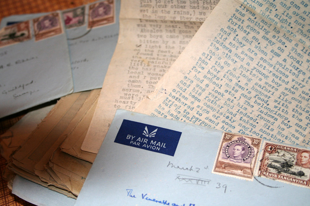 The 'blue letters' sent by John's mother from Tanganyika in the 1950s, describing her adventures