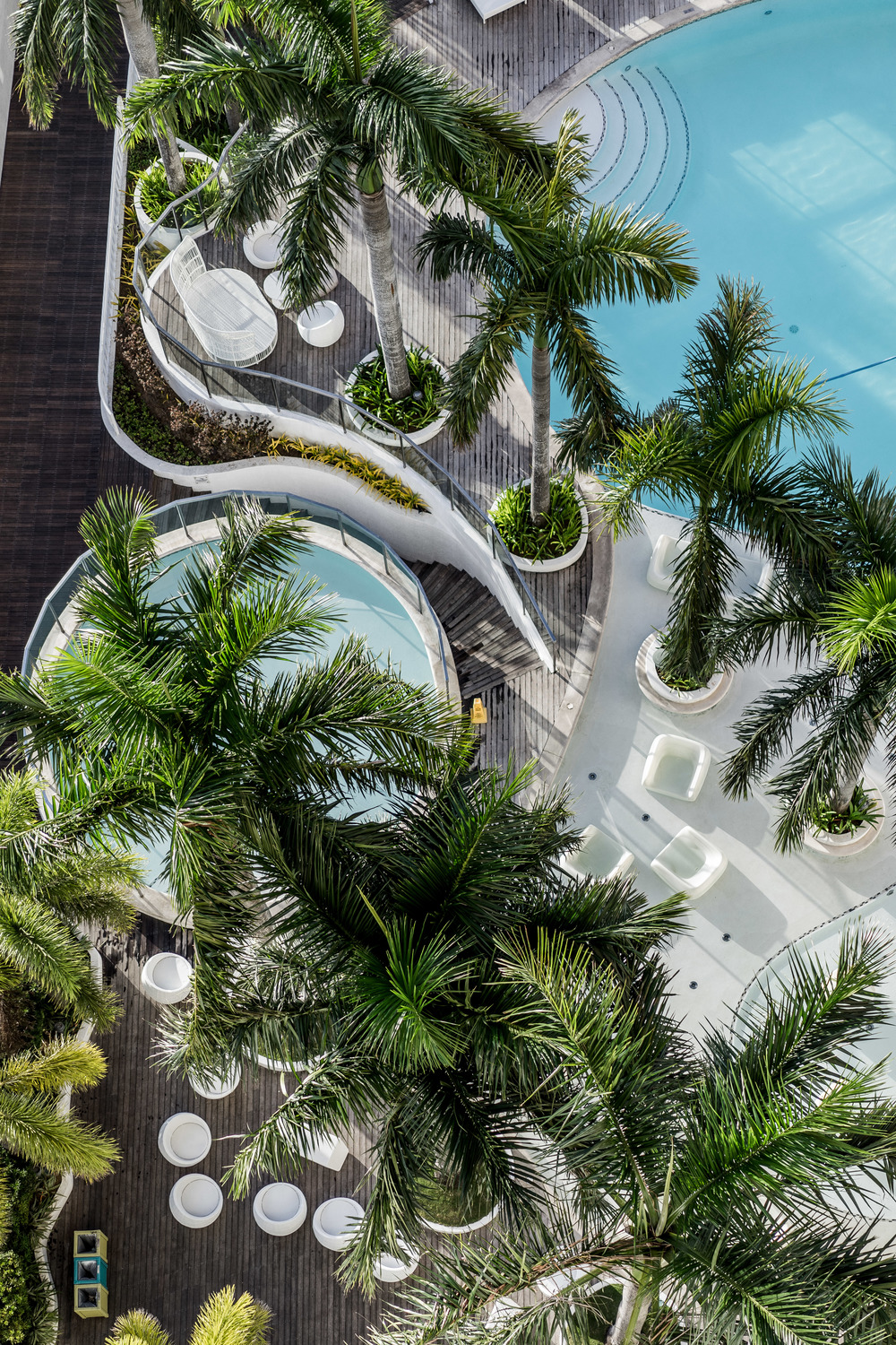 View of the pool area from above (aka dangling my camera 10 stories high)