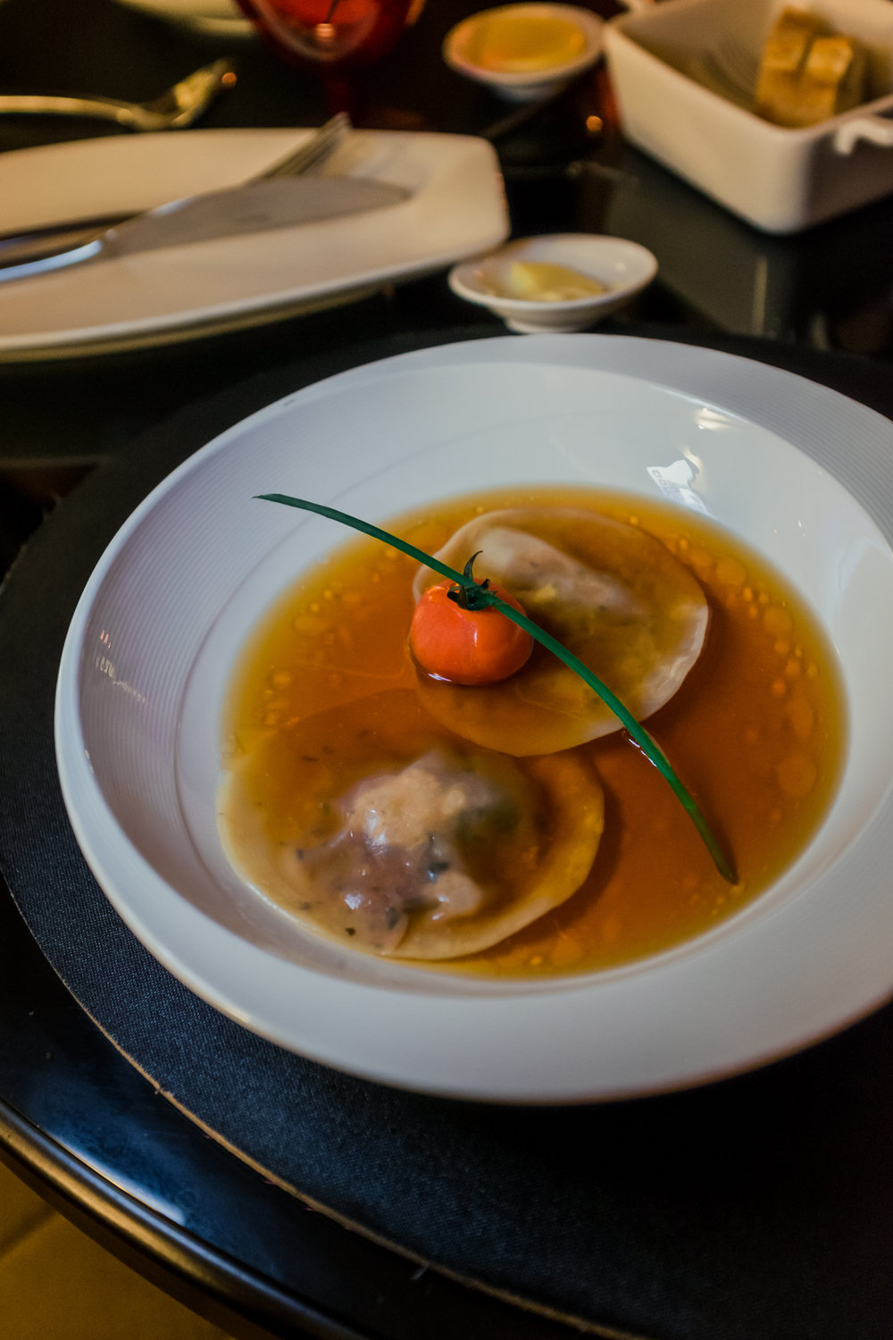 Tomato Consomme with Basil Ravioli