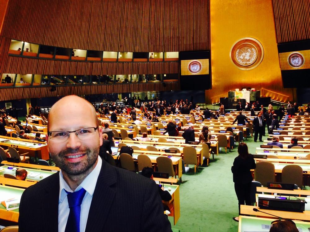 CICEP-direktør Steffen Kallbekken på plass under klimatoppmøtet i New York 23. september.
