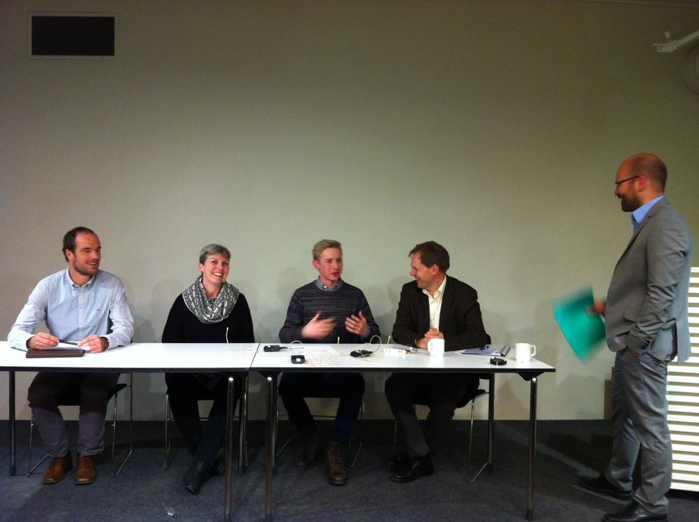 Fra venstre: Håkon Sælen, Anne-Beth Skrede, Bård Lahn, Aslak Brun og Steffen Kallbekken – ikke altfor pessimistiske etter forhandlingene i Lima.