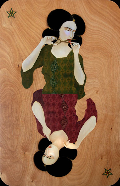 Migrant 3  by one of my favorite artists, Hayv Kahraman