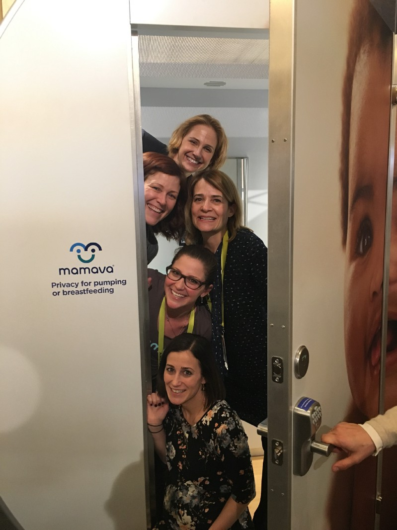 We did a thing! Lauren (top) and I hanging with ladies of Mamava in their lactation pod at CES