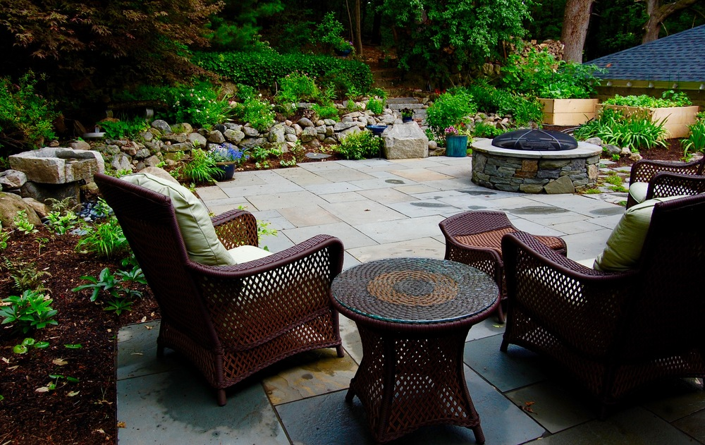 Bluestone patio, fire pit, water feature, shade plantings.jpg