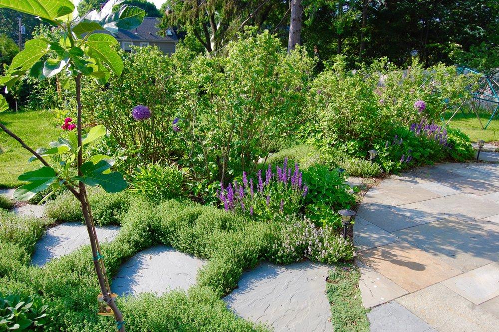 Scope Of Work:  - Custom Design  - Significant Grading and Demolition  - Patio Installation  - Garden Installation  - Lawn Installation  - Orchard Installation