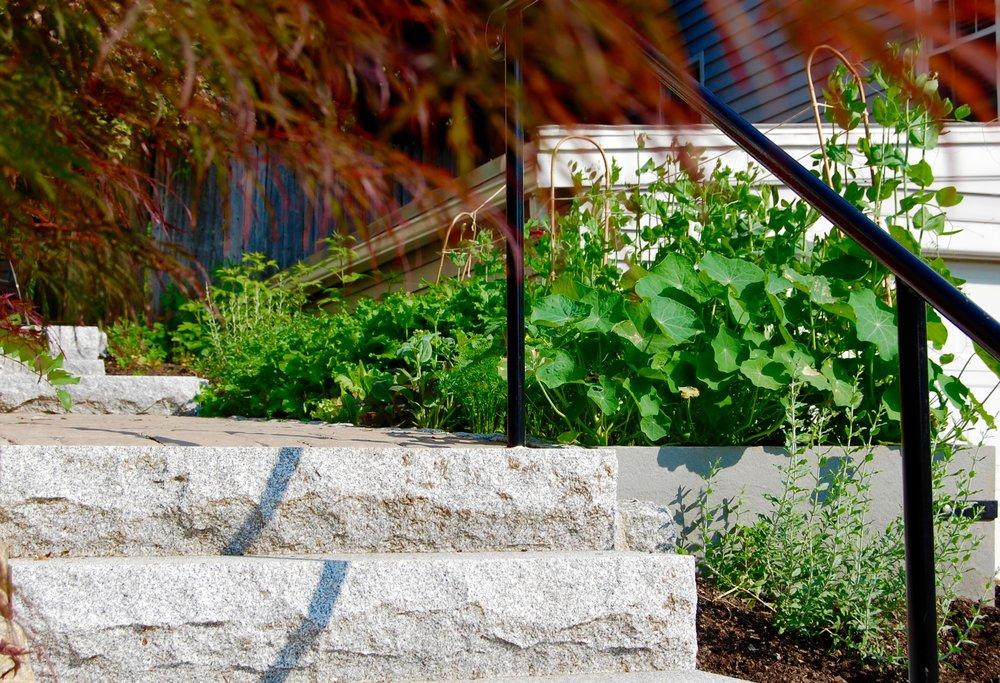 Scope Of Work:  - Custom Design  - Stone Raised Bed Construction  - Edible Plantings