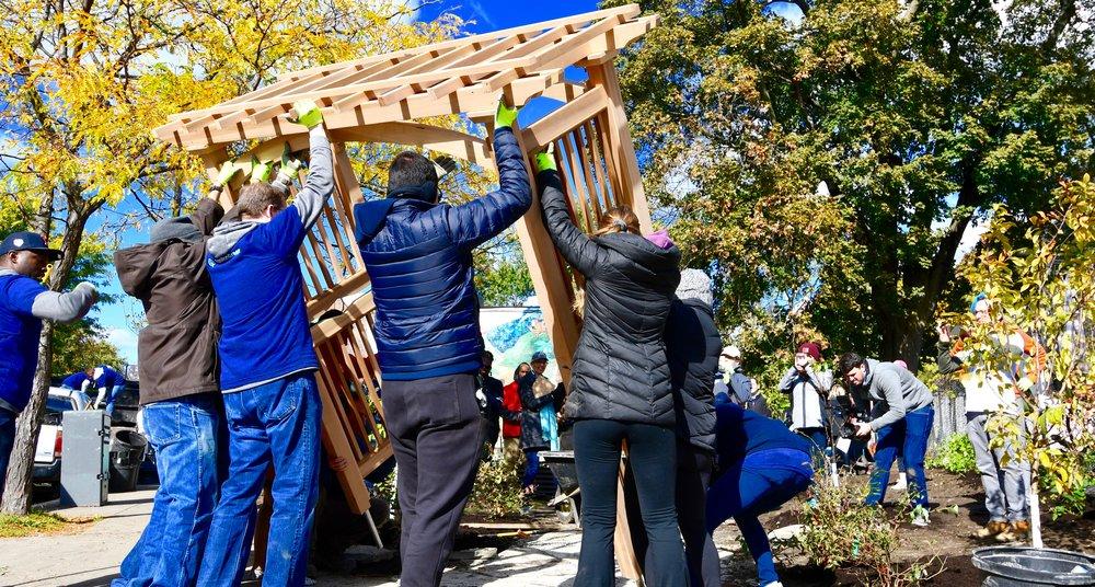 Community Garden, installing a custom arbor, cedar.jpg