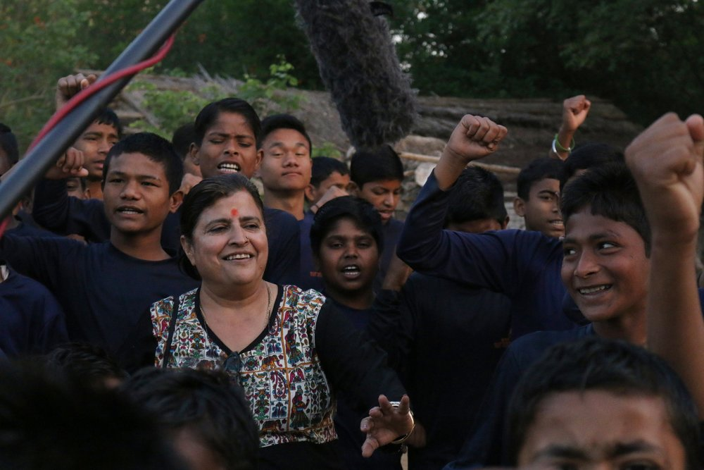 Sumedha Kailash welcomed by the boys at Bal Ashram © Kalpesh Dobal
