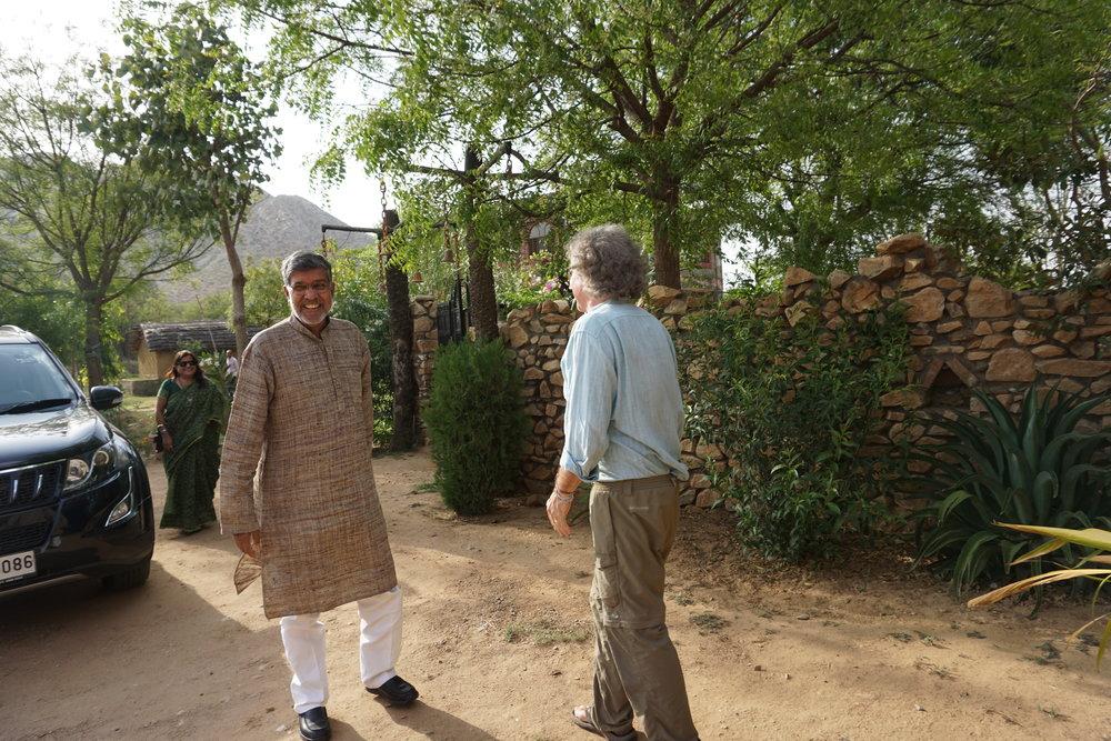 Kailash greets Len at Bal Ashram © Sophia McCarron