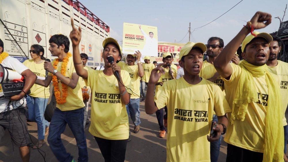 Core Marchers from Bal Ashram at the 100 Million March © Ravi Yadav