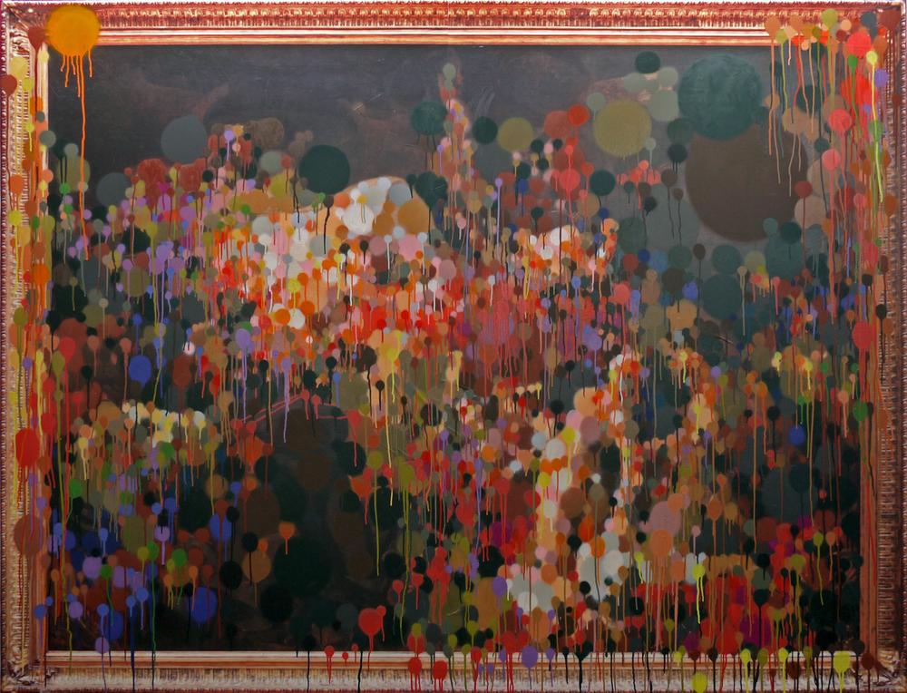 """""""La mort de Sardanapal"""" aérosol sur papier dos bleu imprimé 190cmx230cm 2012"""