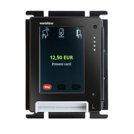 "Main features of the device - • The 3.5"" TFT colour screen ensures pleasant payment• The dimensions of the compact device comply with the EVA/CVS 1.3 standard (SDM standard door module), allowing for easy integration• The payment terminal takes up very little space inside the machine: the size is comparable to a bank note receiver or coin identifier.•The inbuilt Ethernet, serial interface, MDB, USB host connection, and USB device fulfill nearly all telecommunications needs without additional installations."