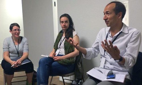Photo: SSL 15 participants Gabriel Robinson and Anita Ross listen to mentor Alex Boden
