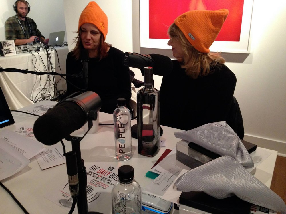 Amy Hobby and Anne Hubbell being interviewed for radio at Sundance