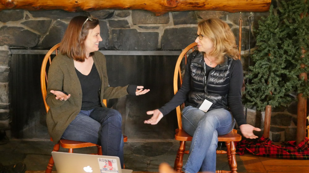 Amy Hobby and Anne Hubbell teach talking about story at Stowe Story Labs Writers' Retreat