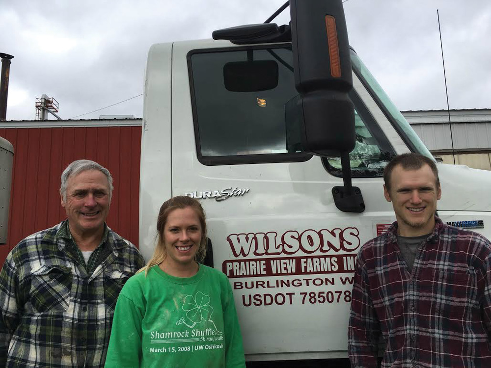 Two generations at Wilson's Prairie View Farm  (Left to right)   Scott Wilson,  Owner  Anna Rothering,  Farm Manager & Animal Research Operations  Alex Wilson,  Farm Manager & Nutrition   For more information about Wilson's Prairie View Farm and Wilson Farm Meats, please visit:   www.wilsonfarmmeats.com