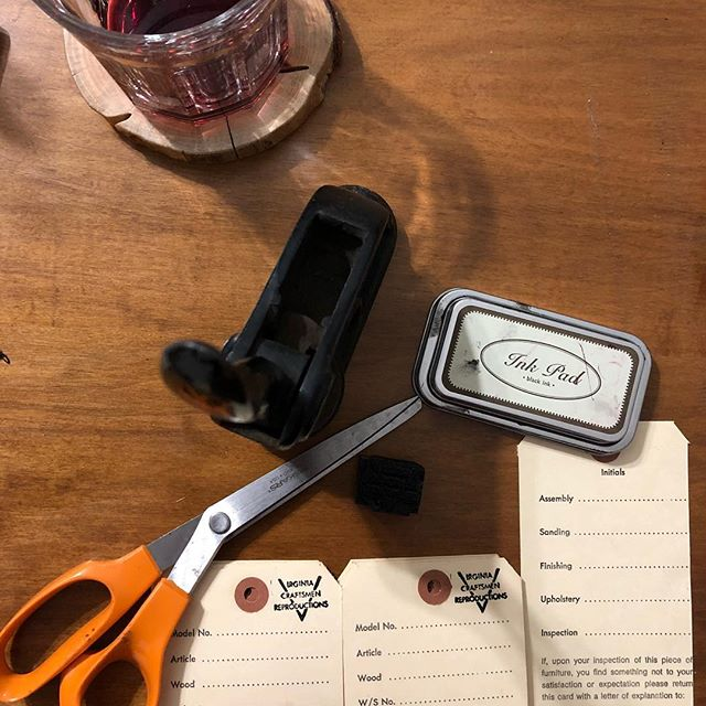Why throw away these old shop tags when I can cut off the old mailing address, stamp it and imprint our seal.  I think they will work great on some of our available pieces at the #hardestyhigginshouse #rememberthecrafthouse? #bringingbackvirginiacraftsmen #virginiacraftsmen #vintagetag #handmade
