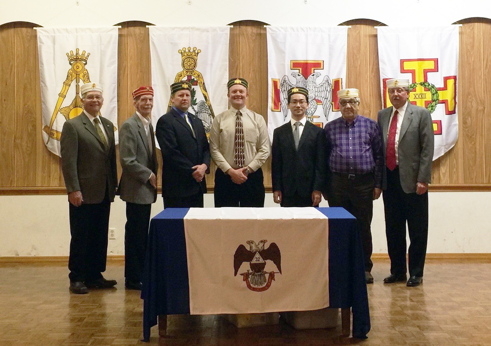 Spring 2016 Reunion: Ken Beebe, 33°, Personal Representative Emeritus; Don Gray, 32° KCCH, Venerable Master of the Lodge of Perfection; Corey Blakemore, 32°; Alex Olson, 32°; 2016 Candidate,  Xiadong Yang, 32°; 2016 Candidate; Bruce Wood, 33°; General Secretary, Michael Gray, 33°, Personal Representative to the SGIG.