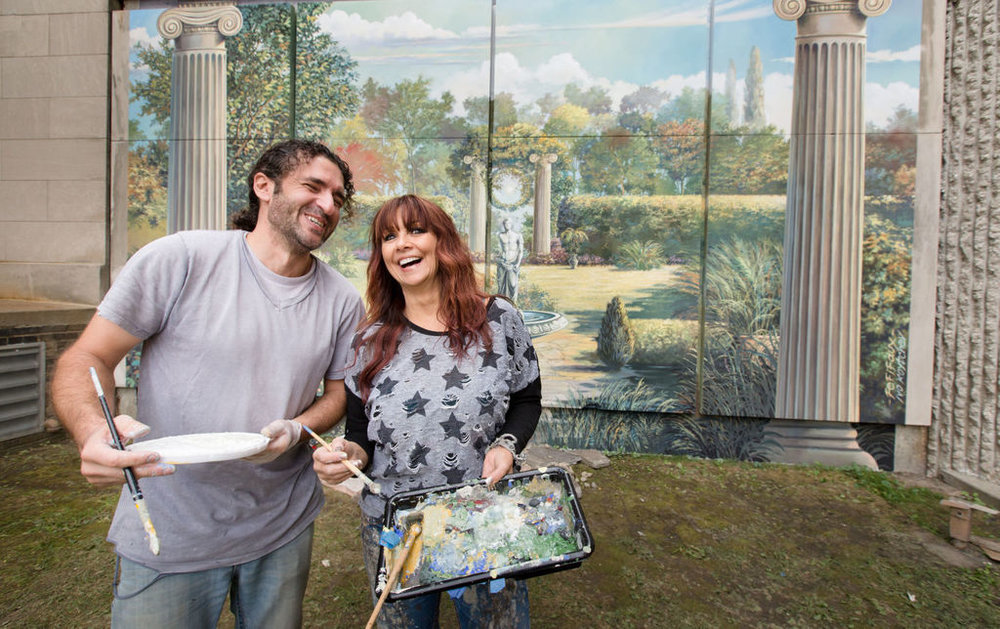 Ivor Kyotchev and Sandra Lassley of Fe-Fi-Faux painting mural Oct 2015 World-Herald.jpg