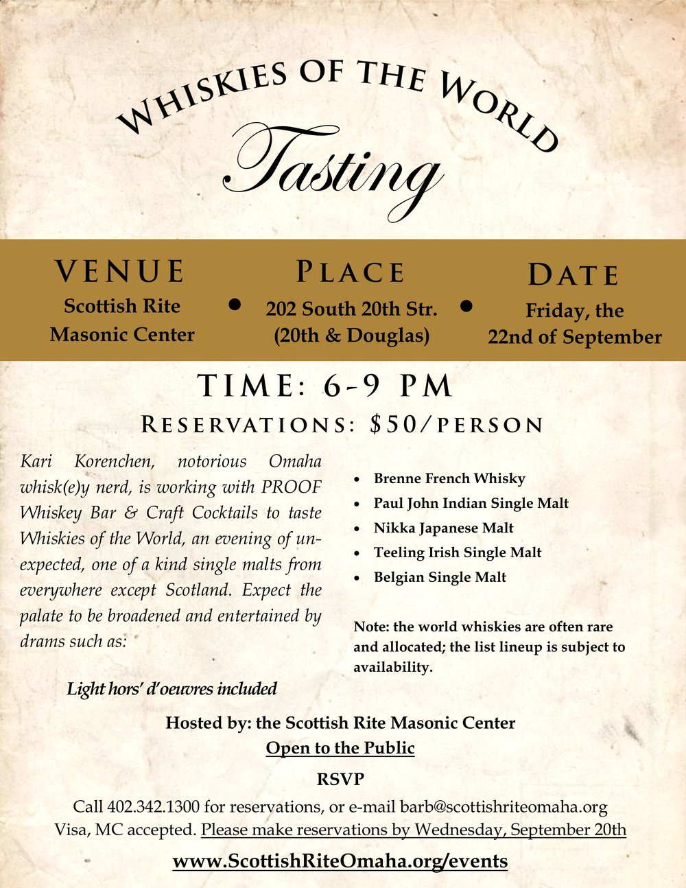 Click above image to download PDF flier for the September Whisky tasting.
