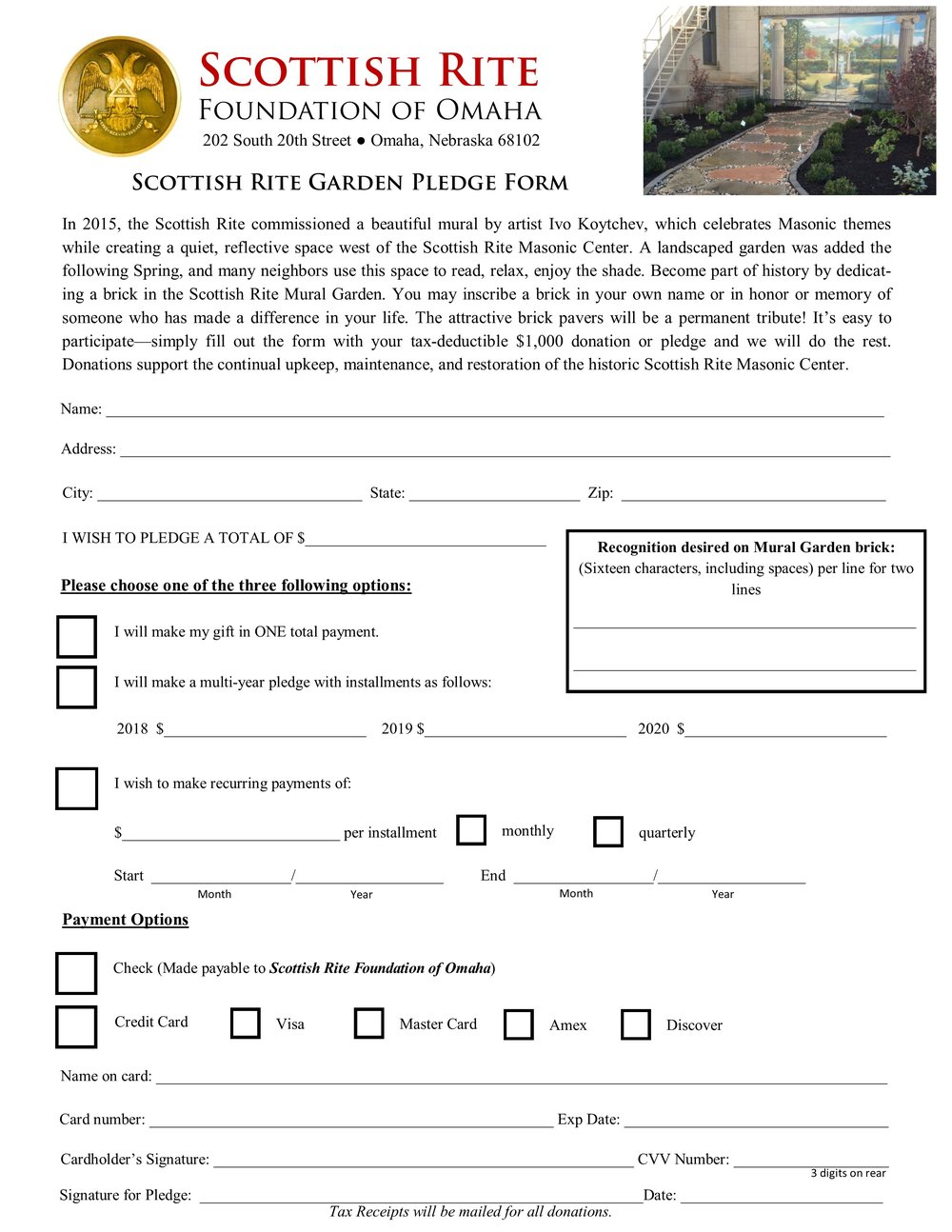 Click here to download a pledge form toward a brick in the Scottish Rite Garden.