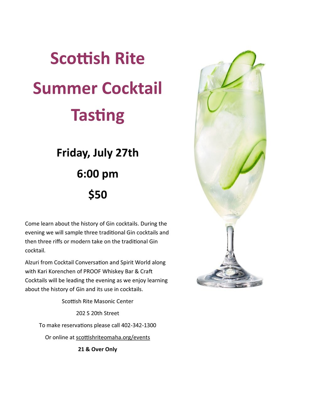 Click above to download a PDF of the cocktail tasting flier.