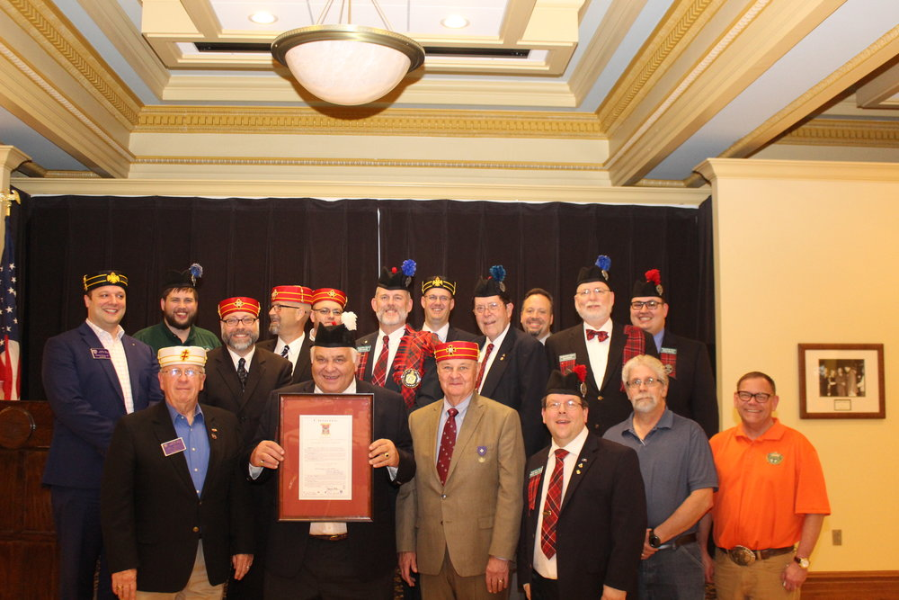 KSA members with their 2002 original Charter from the Valley of Wichita, Kansas.