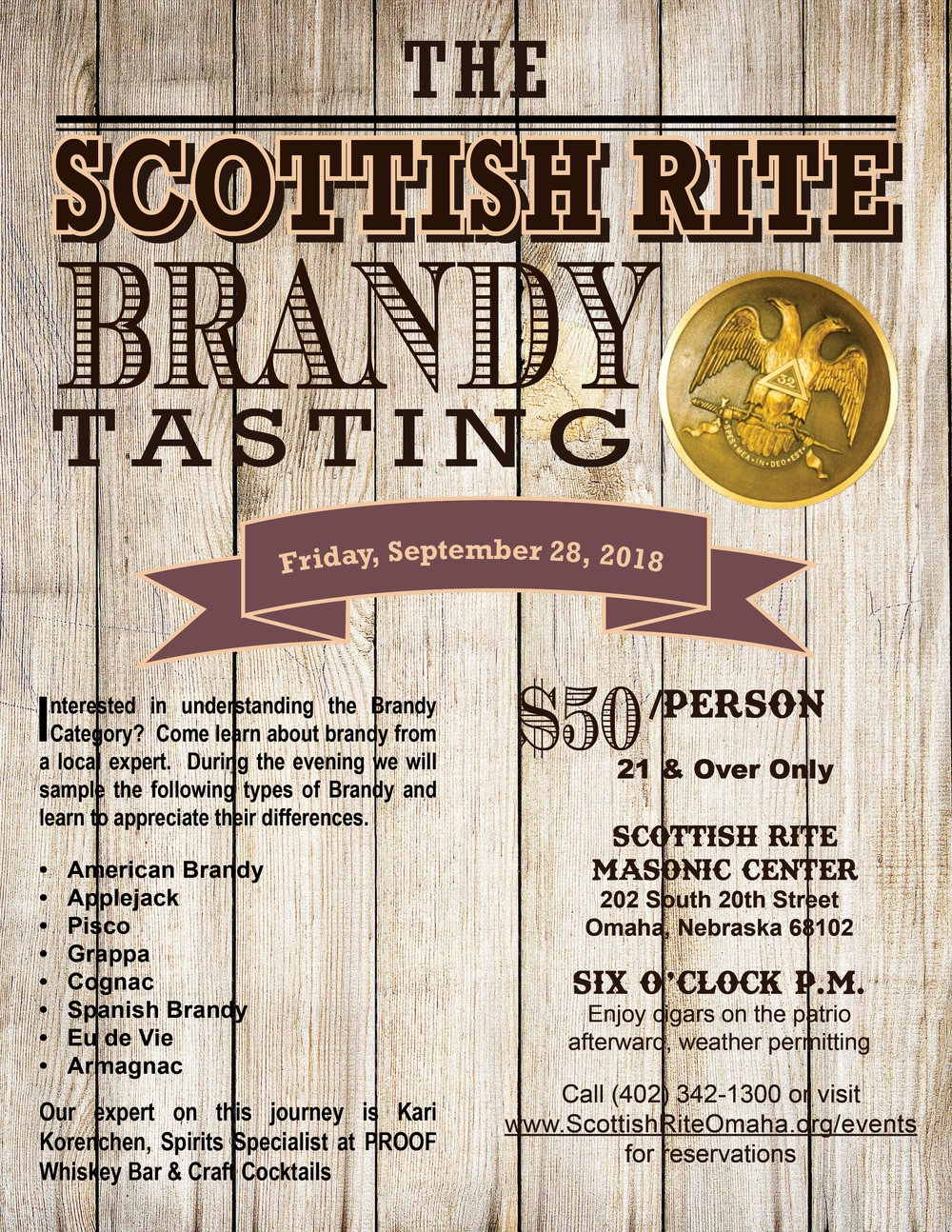 Click above image to download a PDF of Brandy Tasting flier.