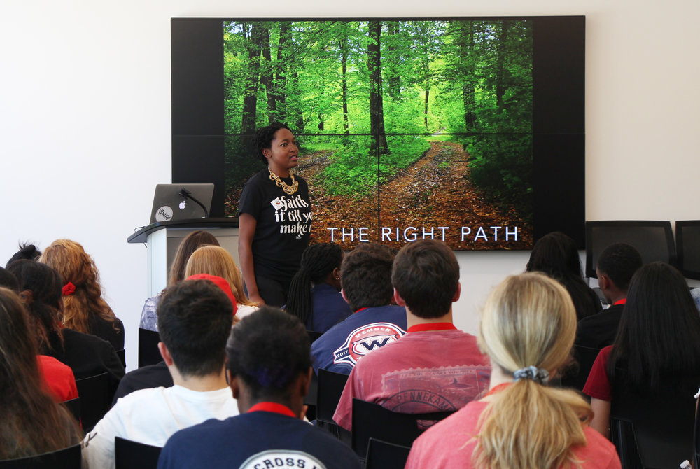 Lakeshia Poole leads and inspirational discussion with Media and Leadership Academy participants on June 4, 2018. Open to rising high school sophomores to seniors,the MLA is Grady College's weeklong residential summer program focused on experiential learning.