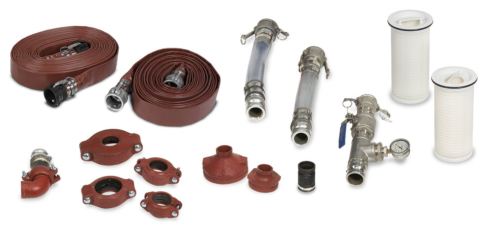 "The EcoSmart X2 Filter comes complete with various sized reduced victualic couplings, a 2"" grooved male quick-connect transition piece, a visual site tube, a braided visual site tube, and two 50' Flat hoses with quick-connect fittings."