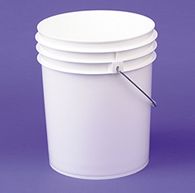 Plastic Containers:   We offer pails from 1 gal to 7 gal in a variety of colors and closures