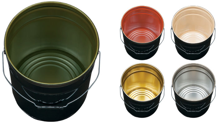 Steel Containers:   We offer pails from 1 gal to 7 gal with a variety of colors, linings and closures.