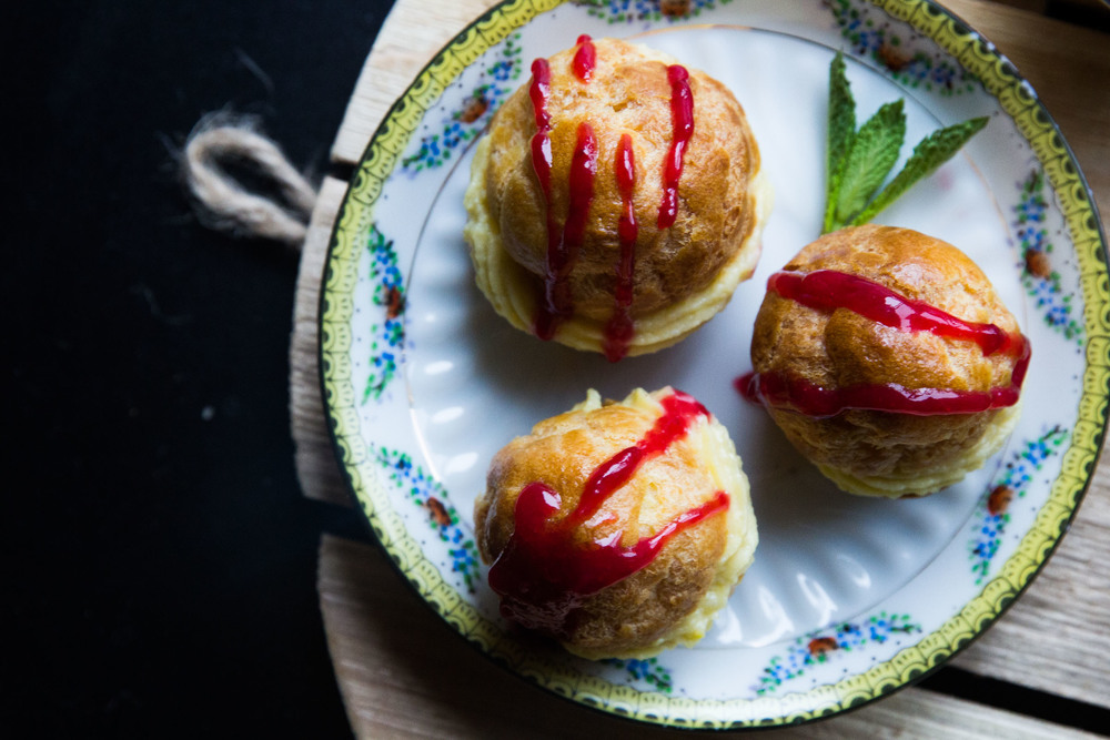 The Judy Lab Cream Puffs with Raspberry Coulis.jpeg