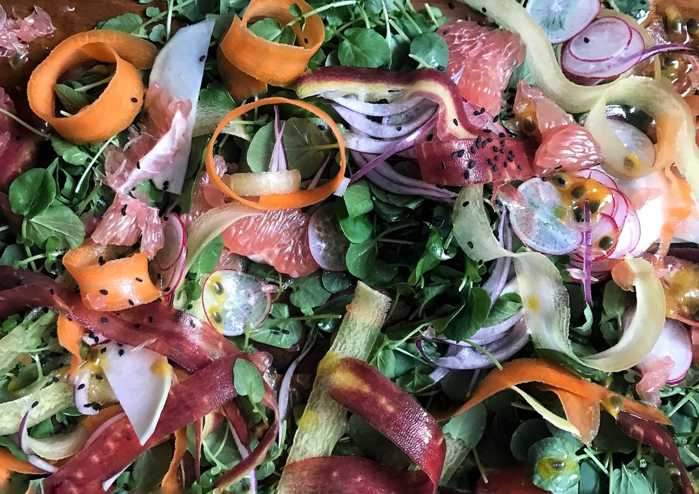 Watercress Pomelo Salad with Passion Fruit Dressing by Judy Kim