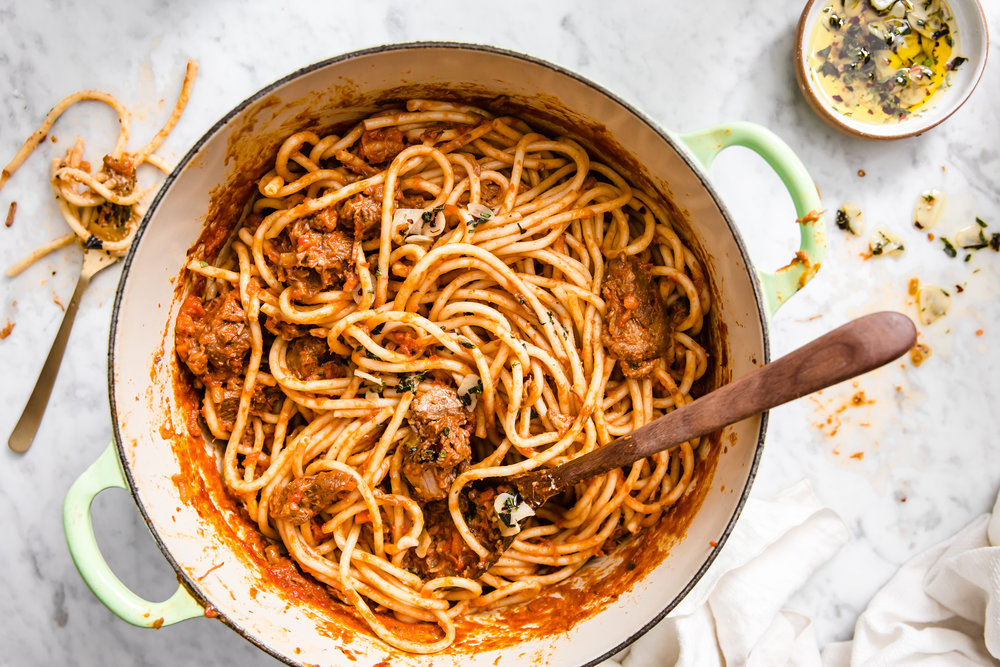 Bucatini with Lamb Ragu James Beard Food Stylist Judy Kim