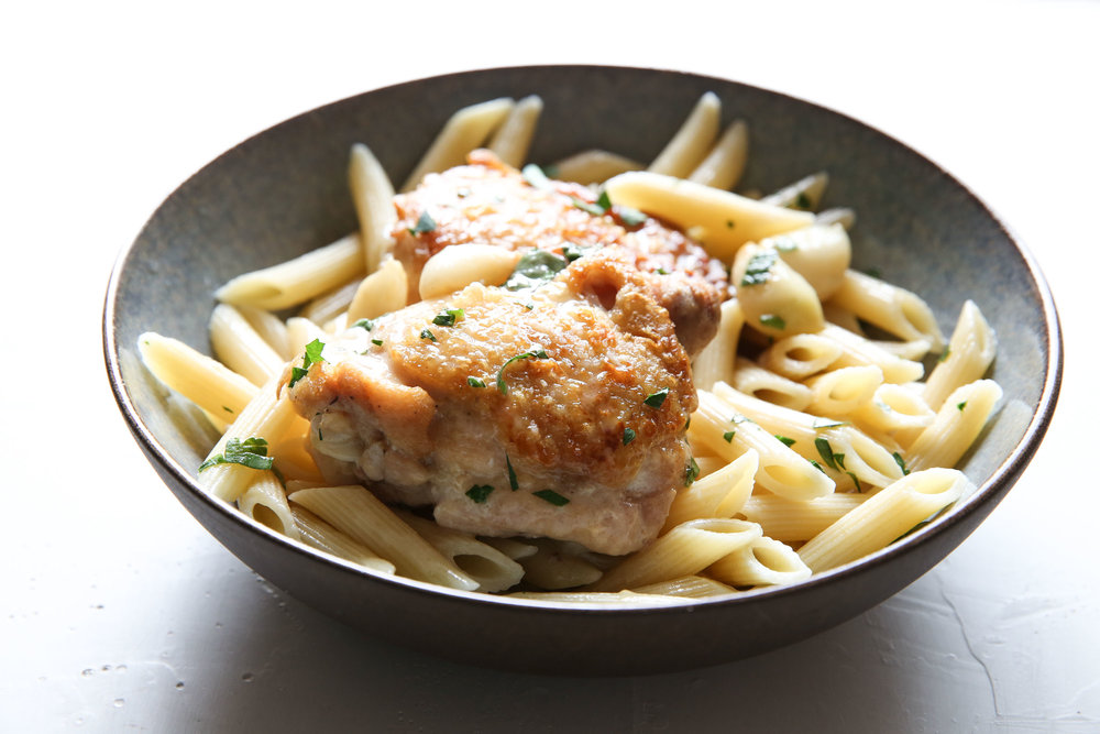 Forty Cloves of Garlic Chicken Penne Pasta by Judy Kim food stylist