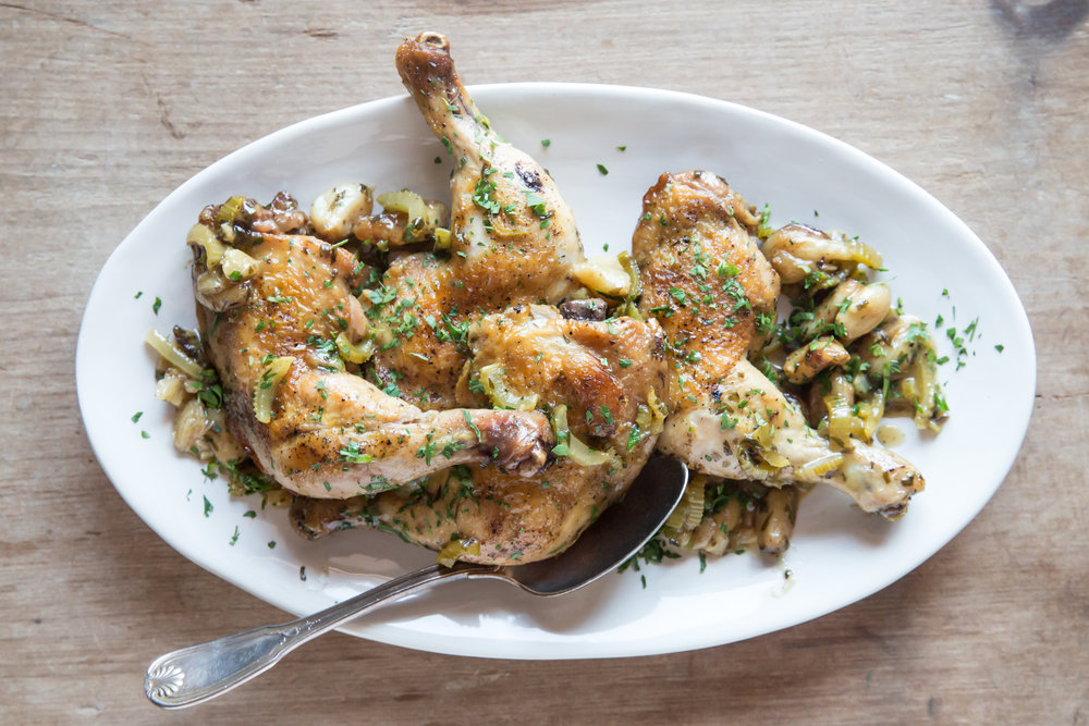 Judy Kim Chicken with forty cloves of garlic, James Beard